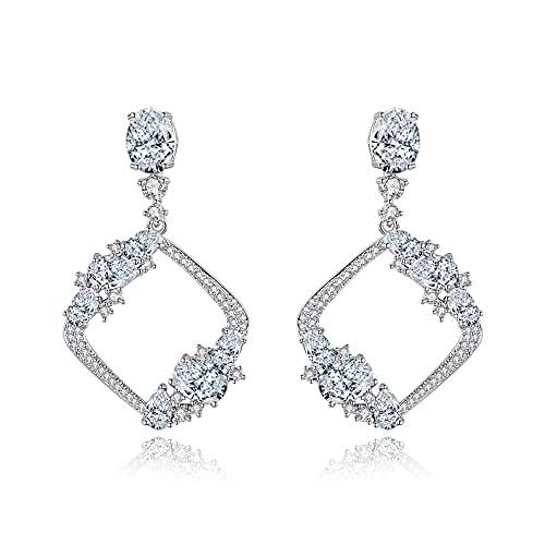 Pendientes de plata de ley 925 para mujer Pendientes colgantes de circonita cúbica Perla de cristal simulada Pendiente nupcial Chapado en plata Joyas Regalos para novias