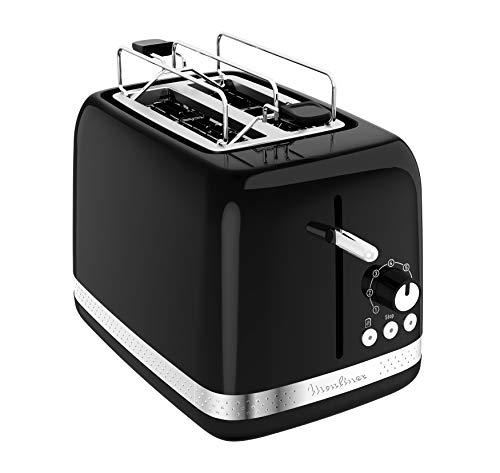 Moulinex LT3018 Soleil Grille-pain (850 W, 7 niveaux de brunissage, 1 levier, 1 tiroir ramasse-miettes, 1 grille réchauffe-viennoiseries) Noir