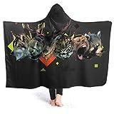 Manta de forro polar con capucha de Inaayayi, manta de ciervo, monos, conejos, tigre, lobo, oso decorativo, suave, cálida, acogedora, de felpa, manta de cama duradera para niños y adultos, negro, 50'x40'