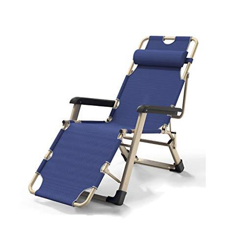 Folding rocking chairSillón reclinable con luz de gravedad cero, estructura de acero, sillón reclinable plegable con reposacabezas de tela oxford ajustable, para balcón / jardín / pesca (Color:azul)