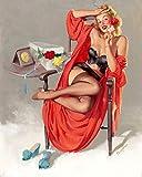 Magnet American Beauty Vintage Style Elvgren Pinup Girl Magnet Vinyl Magnetic Sheet for Lockers, Cars, Signs, Refrigerator 5'
