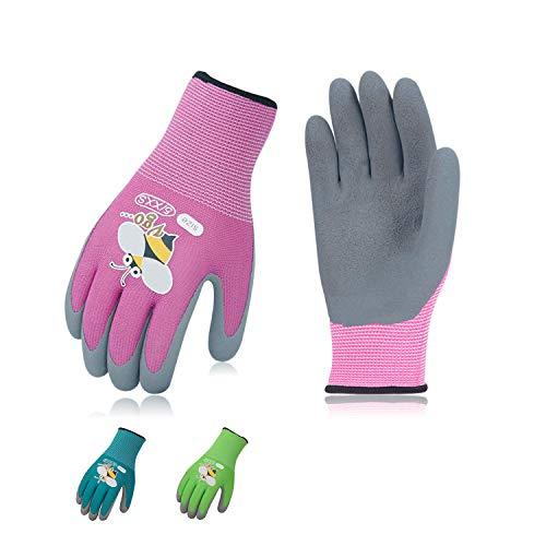 Vgo 3-Pairs Age 3-5 Kids Gardening Gloves, Children Yard Work Gloves, Soft Safety Rubber Gloves (XXXS, KID-RB6013)