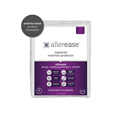 AllerEase Ultimate Protection and Comfort Waterproof, Bed Bug, Antimicrobial Zippered Mattress Protector - Prevent Collection of Dust Mites and Other Allergens, Vinyl Free, Hypoallergenic, Full Sized