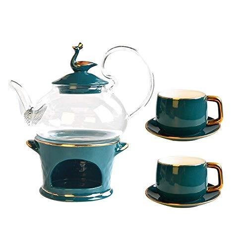 XINGYU Tee-Set für Blumen für 1 bis 6 Personen Hausgebrauch Geschenk Hochzeit mit Kerzenwärmer aus Glas Blühende Blätter lose Teekessel für Zuhause, grün, 6pcsB
