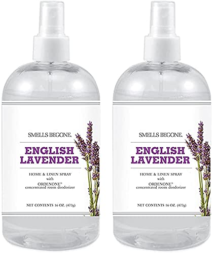 SMELLS BEGONE Air Freshener Home and Linen Spray - Odor Eliminator - Made with Essential Oils - English Lavender Scent - 2 Pack - 16 Ounce
