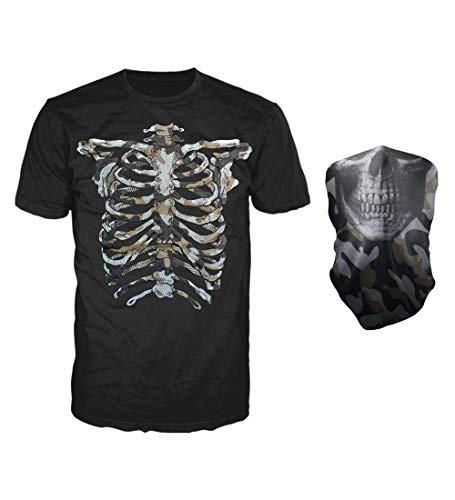 Glow in The Dark Skeleton T-Shirt with Matching Face Skull Mask Bandana Balaclava Halloween Costume for Men, Women, Adults (Grey Shadow Skeleton, X-Large)