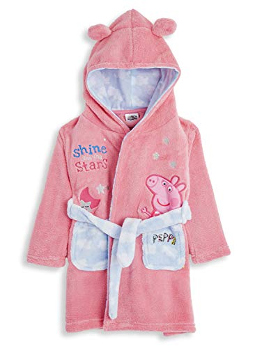 Peppa Pig Dressing Gown for Kids Pink, Hooded Super Soft Girls Dressing Gown with Belt and 3D Animal Ears, Children Fleece Dressing Gowns, Clothes Sleepwear, Gifts for Girls (4/5 Years)