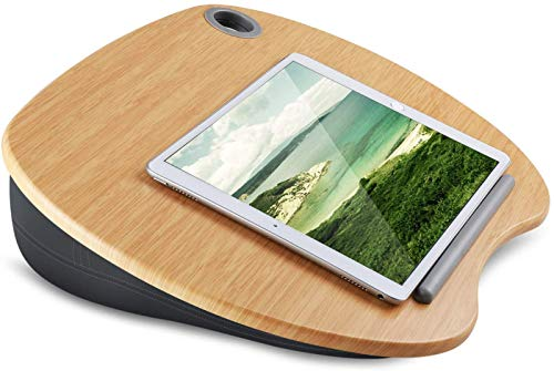 HUANUO Lap Desk - Fits up to 14 inch Slim Laptop, Laptop Stand with Pillow Cushion & Bamboo Grain Platform on Bed & Sofa, with Cable Hole & Anti-Slip Strip