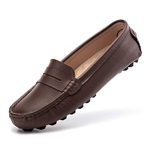 Artisure Women's Girls' Classic Handsewn Coffee Bean Genuine Leather Penny Loafers Driving Moccasins Casual Boat Shoes Slip On Fashion Office Comfort Flats 10.5 M US SKS-1221KF105
