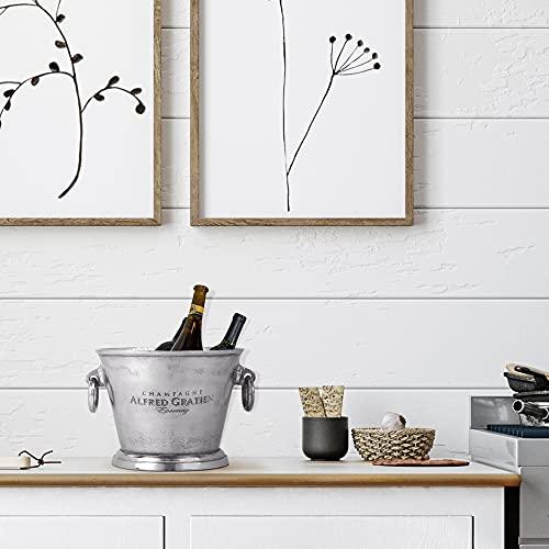 WOMO-DESIGN Secchiello Provence Raffredda Bottiglie Champagne Cooler Alluminio Argento Ø 26 x 21 cm Raffreddatore Bevande Vino Spumante Cocktail Secchio per Ghiaccio Elegante per Bar Eventi Matrimoni