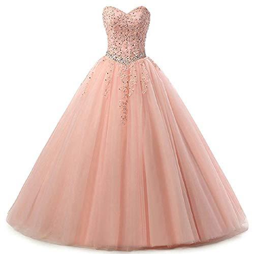 EVANKOU Damen Liebsten Lang Tüll Formellen Abendkleid Ballkleid Festkleider P25 Rosa Größe 36