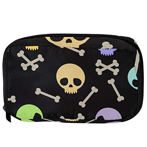 TIZORAX Kosmetiktaschen Nette Halloween Schädel und Knochen Handliche Toilettenartikel Reisetasche Organizer Make-up-Tasche für Frauen Mädchen