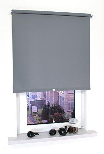 Liedeco® Rollo, Spring-, Schnapprollo / 202 x 180 cm (Breite x Höhe), dunkelgrau/lichtdurchlässig, Blickdicht/viele Farben, Größen und Typen/Breiten 60-200 cm/Variable Montage möglich