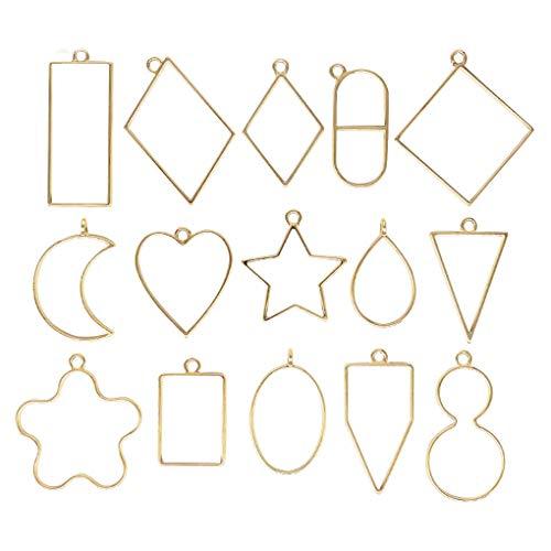 Mingtongli 15pcs Pendant Press Fre Geometric Star Shape Open Back Bezel Necklace Jewelry DIY Accessory, Light Gold