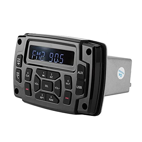 Jacksking Reproductor de MP3 Marino de 12 V, Receptor estéreo Bluetooth FM Am, Accesorio de Sistema de Radio de Medios Digitales para Barco Marino, IP66 a Prueba de Agua