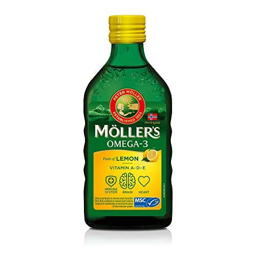 Möller\'s Omega 3 Lebertran Öl | Nordic Omega 3 6 9 Nahrungsergänzung mit EPA, DHA, Vitamin A, D, E | Superior Taste Award | Hochreiner natürlicher Lebertran | 165 Jahre alte Marke | Zitrone | 250 ML