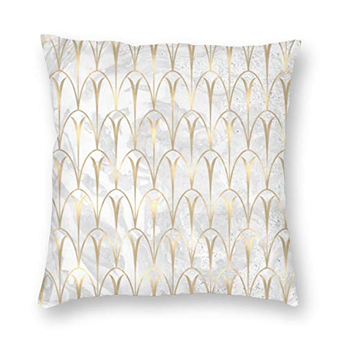 Funda de cojín con diseño de escamas de estilo Art Deco con geometría, color blanco, gris, dorado y mármol, de terciopelo, suave, decorativa, cuadrada, funda de almohada para salón, sofá o dormitorio con cremallera invisible de 20 x 20 pulgadas