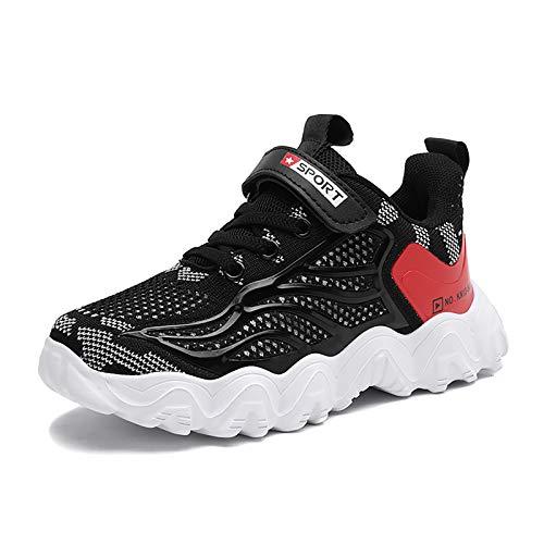 Zapatillas Deportivas Niño Bambas Niño Velcro Tenis Niño Ligeras Zapatos de Correr Transpirables para Niños Talla 30 EU,Negro