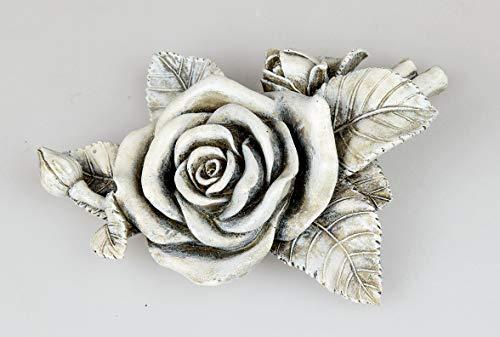 Grab Deko Blume Rose Blüte Zum Hinlegen 16 cm, Polystein Stein Optik Grau, Grabdeko Dekorose Dekoblume Blühend Trauerstätte Gartendeko Garten