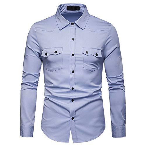 BEIXUNDIANZI Shirt Men's Long Sleeve Fashion Lapel Slim Fit Business Shirt Spring and Autumn New Prom Work Wedding Buttons Solid Color Shirt Casual Daily All-Match Shirt S Light Blue