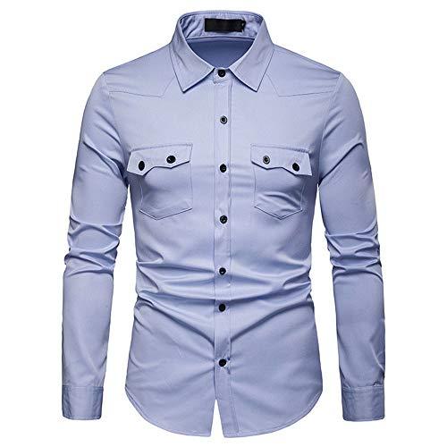BEIXUNDIANZI Camicia Uomo Manica Lunga Slim Fit, Camicie da Uomo d'Affari a Maniche Lunghe Tinta Unita Facile Stiro Casual/Formale, Cotone Light Blue M