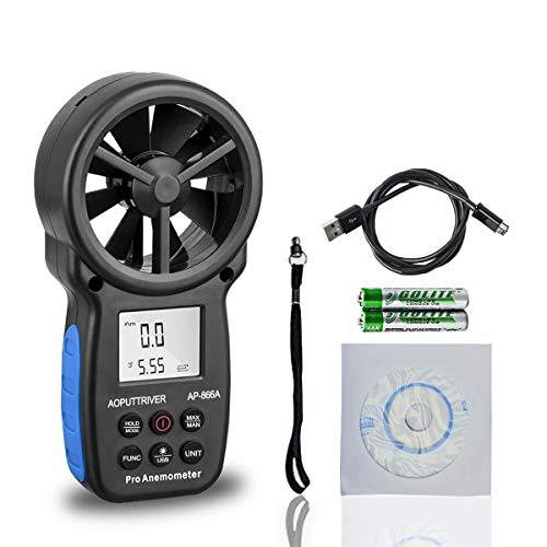Anemómetro digital AP-866A USB CFM Meter mida con precisión la temperatura del viento/velocidad del enfriamiento del viento CFM con MAX/MIN/AVG,Pantalla LCD retroiluminada para vela, climatiza