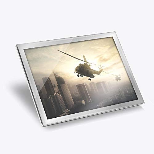 Destination Vinyl ltd Mantel individual de cristal plateado 20x25 cm - Apache Helicóptero Paisaje urbano lugar de trabajo/Estera de mesa/Alfombras de comedor/Lavable a prueba de agua #14313