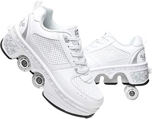 qmj Rollschuhe Mädchen, Schuhe Mit Rollen Für Mädchen Deformation Rollschuhe Ausklappbare Schuhe Rollen Quad Turnschuhe Mit Rollen Verformbare Rollen Schuhe,White-EU35/UK2