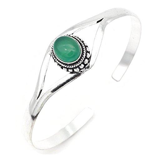 mantraroma Armreif Armband versilbert silbern Grüner Onyx grün (922-05-019-14)