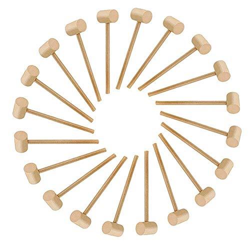 Kuinayouyi 20 piezas de martillo de madera de langosta marisco cangrejo mazo de madera dura para niños niñas cuero artesanía fabricación de joyas