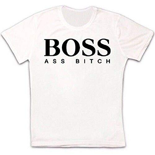 KAIYUAN Boss Ass Bitch Parody Rap Retro Vintage Hipster Unisex T Shirt-S,Women