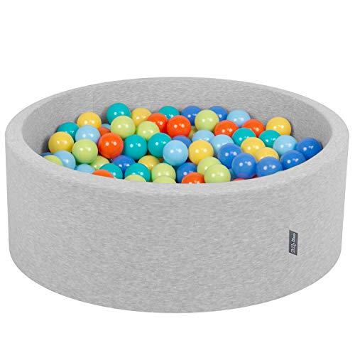 KiddyMoon 90X30cm/200 Bolas ∅ 7Cm Piscina De Bolas para Ninos Hecha En La UE, Grisclr:Verdeclr,Naranj,Turq.,Azul,Azulclr,Amarilo