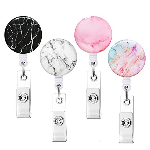 Retractable Badge Reels Knocent Nurse Badge Holder with Alligator Clip,Cute Badge Reel Clip ID Card Holders (Marble 4pack)