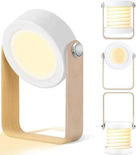 Luz LED de mesa con control táctil 3 niveles de brillo cálida luz nocturna lámpara de mesa, multifuncional portátil plegable y ajustable de 360 grados para lectura, carga USB, cuidado de los ojos