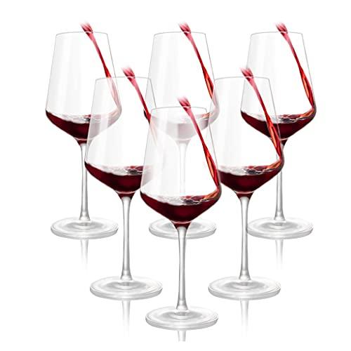Copas de vino 6 Cristal, Juego de Copa para Banquete, Recoge el Aroma, Ponte Sobrio rápidamente, Copa de Vino de 400 ml (Color : Clear, Size : 400ml)