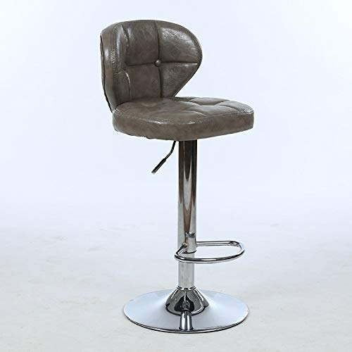 Alvnd 360 graden draaibare hoge kruk met rug kunstleer, zithoogte 60-80 cm