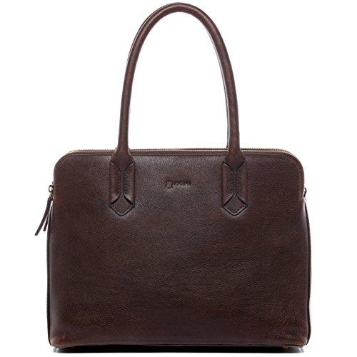 BACCINI® Borsa porta pc vera pelle ROSARIA borsa a spalla 13 pollici portadocumenti a tracolla portatile donna cuoio marrone