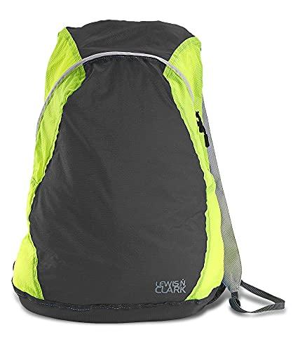 Lewis N. Clark Mochila Electrolight, Mochila para uso diário, mochila para caminhadas + mochila para acampamento, bolsa despojada, Carvão/limão neon, One Size