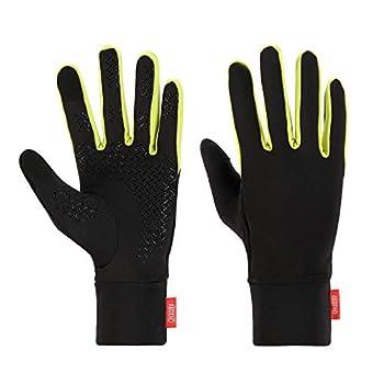 Aegend Running Sports Gloves Touch Screen Winter Lightweight Warm Gloves Mittens Liners  Black&Green Small
