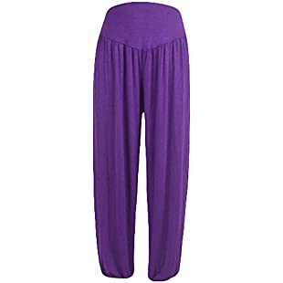Xmiral Women Pants Elastic Waist Loose Casual Modal Cotton Soft Yoga Sports Dance Harem Pants(XXL,Dark Purple)