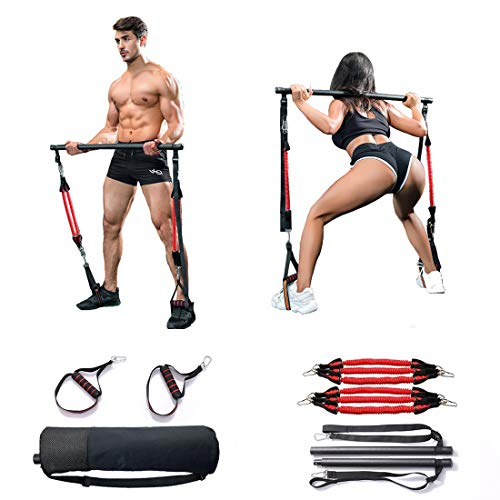 QCLTY Full Body Portable Pilates Bar Kit Adjustable with Carry Bag Yoga Pilates Stick Muscle Toning Bar with Elastic Ropes, Gym Pilates Exercise Bar with Foot Loops for Home, Office, Travel