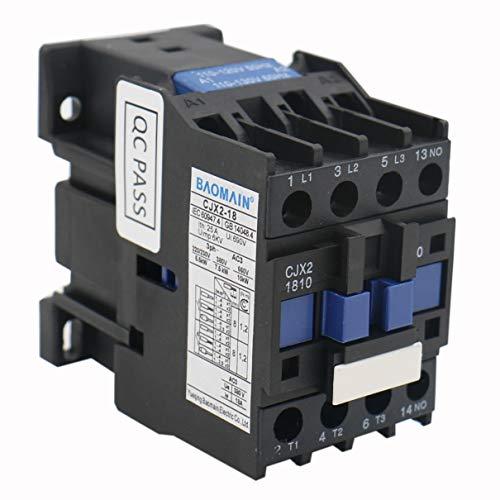 Baomain AC Contactor CJX2-1810 Coil 110V 18A 50Hz 3 Phase 1NO (Normally Open)
