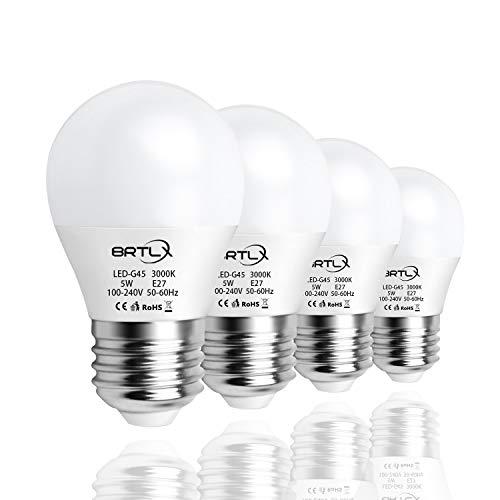 BRTLX Lampadina LED E27, 5W equivalenti a 45W, Luce Bianca Calda 3000K, 220° Angolo a fascio, 400LM - Pacco da 4