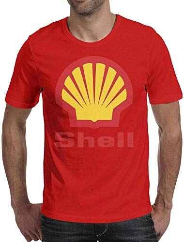 VOROY Shell-Gasoline-Gas-Station - Camiseta de manga corta para hombre, cuello redondo