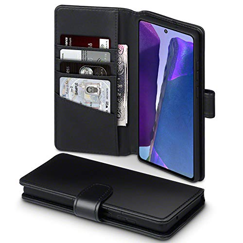 TERRAPIN, Kompatibel mit Samsung Galaxy Note 20 Hülle, [ECHT Leder] Brieftasche Hülle Tasche mit Standfunktion Kartenfächer & Bargeld - Schwarz