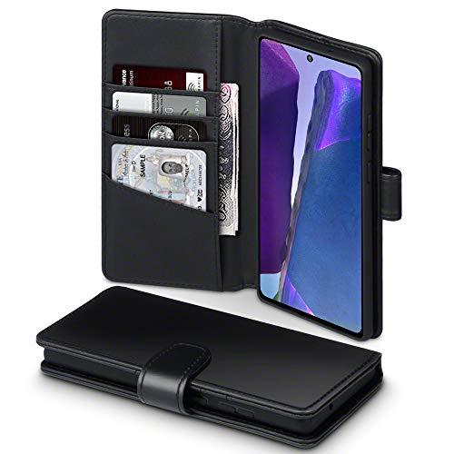 TERRAPIN, Kompatibel mit Samsung Galaxy Note 20 Hülle, [ECHT Leder] Brieftasche Case Tasche mit Standfunktion Kartenfächer und Bargeld - Schwarz