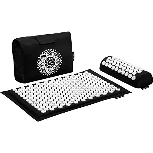 Dr Relief Acupressure Mat 28quot x 17quot  Shiatsu Intervention Mat amp Pillow Gift Set  Quick Back amp Neck Pain Relief for Men amp Women Cushion for Sciatica Trigger Point Therapy Stress Relief and Muscle