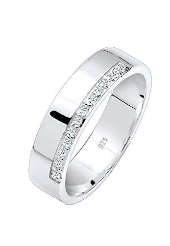 Diamore Damen-Ring 925 Silber Diamant (0.12 ct) Brillantschliff weiß Gr. 52 (16.6) - 0612622214_52