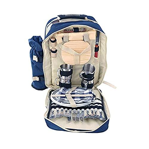 Jgrace 4 Persona Deluxe Picnic Set Hamper Backpack, Picnic Mochila Hermper con Set De Vajilla Conjunto Soporte De Botella para Familia Al Aire Libre Camping (42 * 38 * 15 Cm),Azul