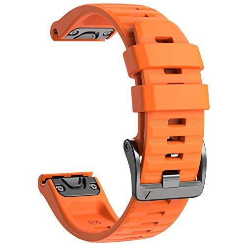 NotoCity Armband für Garmin Fenix 6/Fenix 6 Pro/Fenix 5/Fenix 5 Plus/Forerunner 935/945/Instinct, 22mm Breite Silikon Estrazarmband Quick-Fit Uhrenarmband für Garmin, Mehrfache Farben, Orange